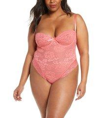plus size women's oh la la cheri high leg underwire lace teddy, size 3x - coral