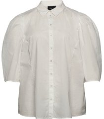 shirt puff sleeves plus cotton buttons kortärmad skjorta vit zizzi