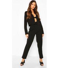 crop blazer & self fabric belt trouser suit set, black
