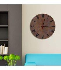 relógio de parede decorativo premium corten com números romanos em relevo preto ônix médio