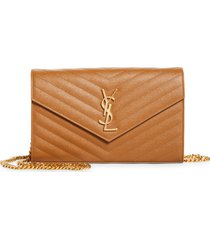 women's saint laurent large monogram quilted leather wallet on a chain - beige