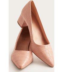tacones rosa tipo piel rosado 35