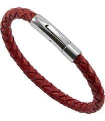 bracelete de aço inox tudo joias com couro bright red
