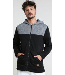 blusão masculino em moletom com recortes com capuz preto