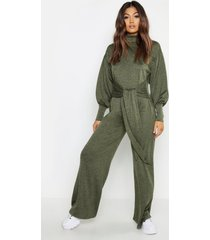 cut & sew batwing roll neck jumpsuit, khaki