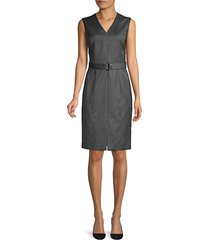 boss women's decapolis patterned stretch wool v-neck shift dress - black fantasy - size 6