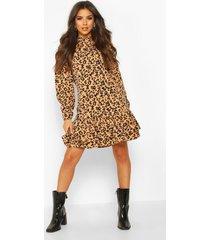 leopard print high neck smock dress, tan