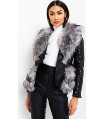 akira azalea wang never cared waist lined faux fur moto jacket