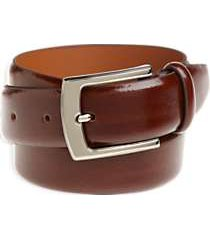 men's wearhouse cognac brown leather belt with chrome buckle