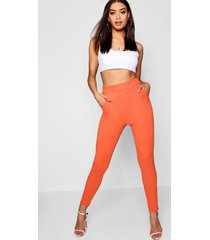 basic crêpe skinny fit stretch broek, oranje