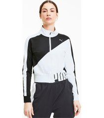 stretch knit trainingsjack voor dames, wit/zwart/aucun, maat xl   puma