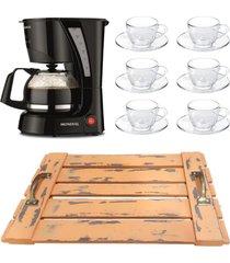 kit 1 cafeteira mondial 110v, 6 xícaras 90 ml com pires e 1 bandeja laranja em mdf de alça - tricae