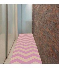 passadeira chevrom rosa com bege casa dona antiderrapante 66 x 240cm