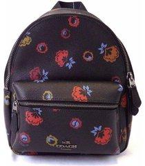 new women's coach (f22234) mini charlie black floral coated canvas backpack bag