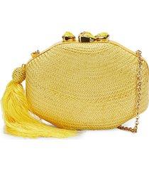 rafe women's sophia octagon clutch - lemon