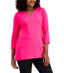 karen scott cotton split-neck tunic, created for macy's