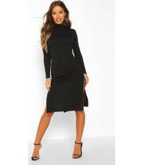 petite ribgebreide midi-jurk met split, zwart