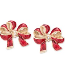 holiday lane gold-tone pave & glitter red bow stud earrings, created for macy's