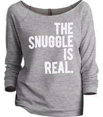 thread tank the snuggle is real women's slouchy 3/4 sleeves raglan sweatshirt sp