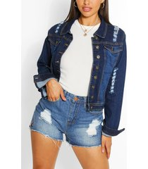 distressed back detail denim crop jacket, mid blue