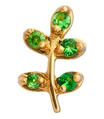 18k yellow gold tsavorite olive branch charm - peace