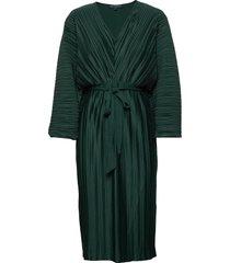 regi pleated sleeved dress knälång klänning grön french connection
