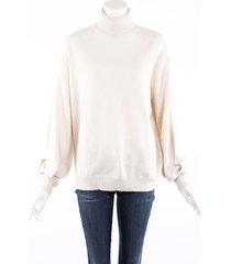 brunello cucinelli cream cashmere knit turtleneck sweater cream sz: m