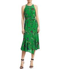 floral silk sleeveless ruffled dress