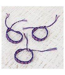 cotton wristband bracelets, 'mauve friendship geometry' (set of 3) (mexico)