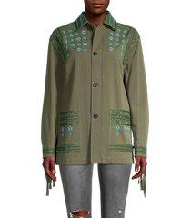 valentino women's embellished fringe jacket - olive - size 0