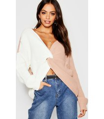 knitted colour block twist front sweater, nude