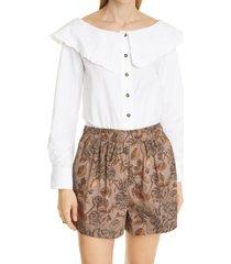 women's ganni frill collar organic cotton poplin blouse, size 2 us - white
