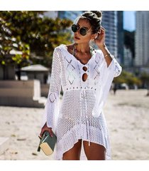 vestido de playa/beach cover up bikini de punto ganchillo-blanco