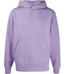 acne studios ribbed-edge classic-fit hoodie - purple