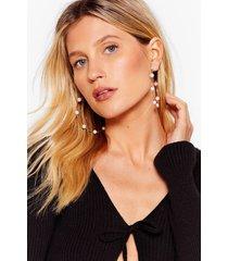 womens you rock my pearl oversized hoop earrings - gold