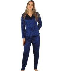 pijama longo cia da seda veludo azul