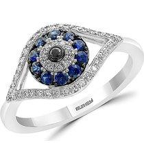 effy women's royale bleu sapphire, diamond and 14k white gold evil eye ring - size 7