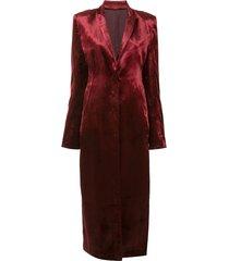 ann demeulemeester satin longline coat - red
