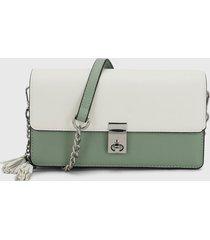 bolso blanco-verde keddo