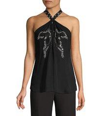 kobi halperin women's jaclyn embellished halterneck top - black - size xs