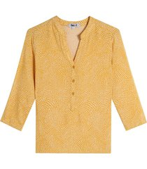 blusa manga 3/4 estampado mini print color amarillo, talla m