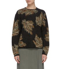 leaf motif crewneck knit sweater