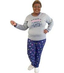 "pijama feminino """"if you're talking"""" cinza e azul plus size"