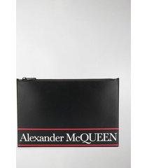alexander mcqueen flat lettering logo printed clutch
