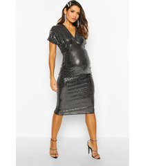 maternity batwing stretch sequin midi dress, silver