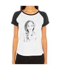 camiseta criativa urbana raglan boneca mulher desenho fashion