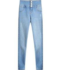 jean skinny pretina 3 botones color azul, talla 10
