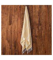 cotton beach towel, 'sweet relaxation in buttercup' (guatemala)