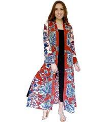 kimono largo burdeo flores natalia seguel