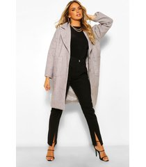 oversized collared wool look coat, grey